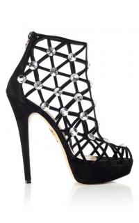 Charlotte Olympia galaxy crystal webbed ankle booties.