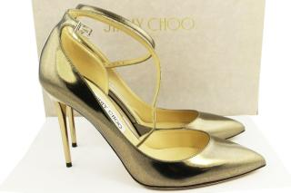 Jimmy Choo Gold Mirror Leather Pumps, UK 6