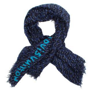 Louis Vuitton Blue Leopard Cashmere Blend Scarf