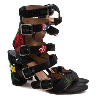 Laurence Dacade Kloe Buckles Floral Embroidered Sandals