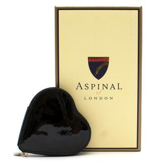 Aspinal of London Black Fine Leather Heart Coin Purse