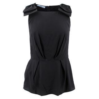 Prada Bow Embellished Silk Top