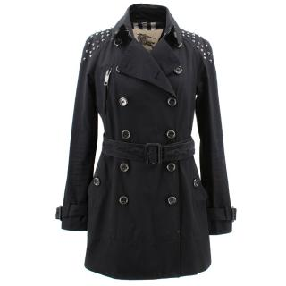 Burberry Black Trench Coat With Rockstuds