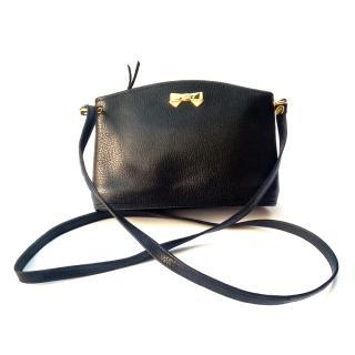 NINA RICCI Vintage Black Leather Shoulder Crossbody Bag .