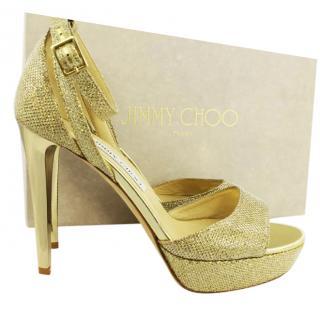 Jimmy Choo Gold Glittery Heeled Sandals, UK 5