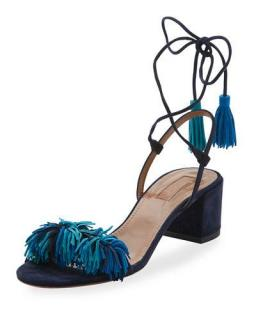 Aquazzura Black and Blue Fringed Block heel sandals, UK 4