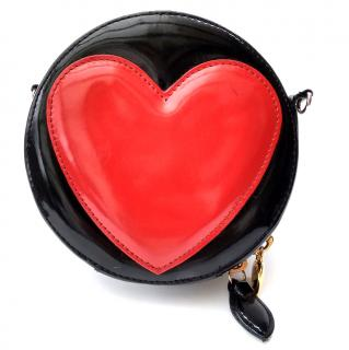 MOSCHINO by Redwall Vintage Black and Red Leather Shoulder Bag  Clutch