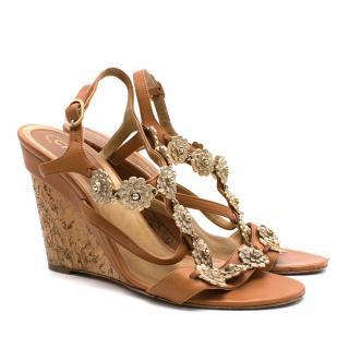 Chanel Cork and Leather Wedges