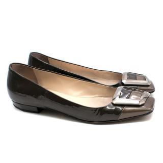 Prada Grey Patent Leather Buckle Flats