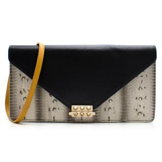 Christian Louboutin Roxane Leather and Python Envelope Shoulder bag