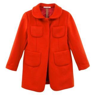 Marni Girl's Red Wool Coat