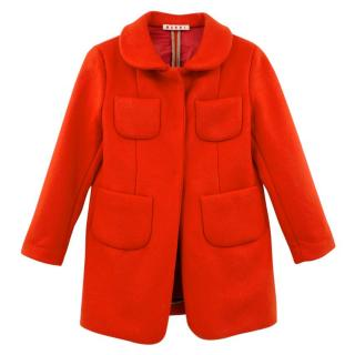 Marni Girl's Red Wool Coat