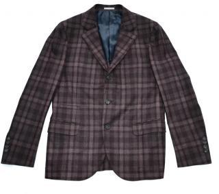 Brunello Cucinelli plaid cashmere blazer jacket