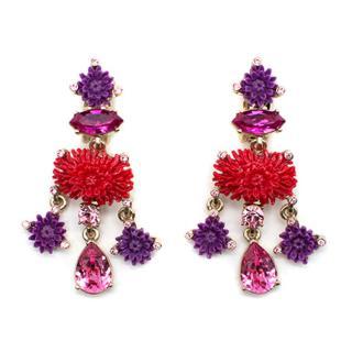 Oscar De La Renta Dahlia Floral Crystal Earrings