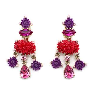 Oscar De La Renta Dahlia Floral Crystal Earrings