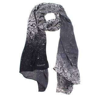 Lanvin Grey Crystal- print Silk Scarf