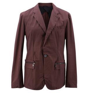 Lanvin Burgundy Cotton Blazer