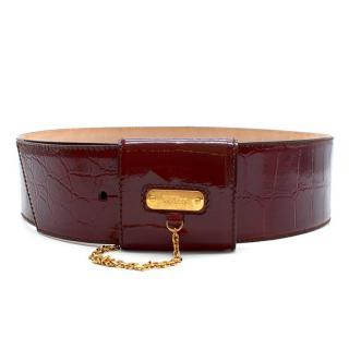 Alexander McQueen Burgundy Patent Leather Waist Belt