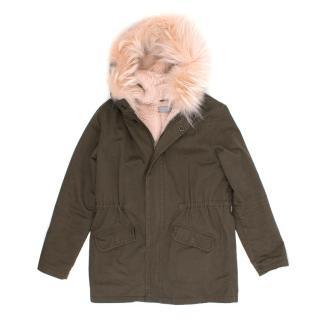 Yves Salomon Kids Fur Hoodie Parka Coat