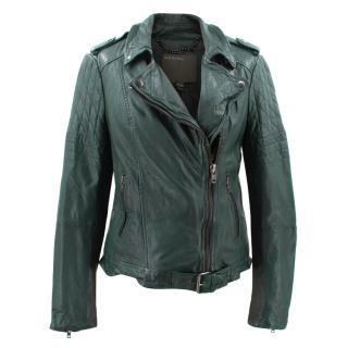 Muubaa Bottle Green Leather Jacket