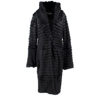 Amanda Wakeley Black Rabbit Fur Coat