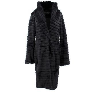 Amanda Wakeley Black Rabbit Fur Coat