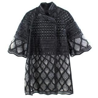 Ermanno Scervino Black and Grey Leather Coat