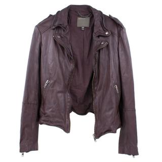 Muubaa Burgundy Leather Biker Jacket