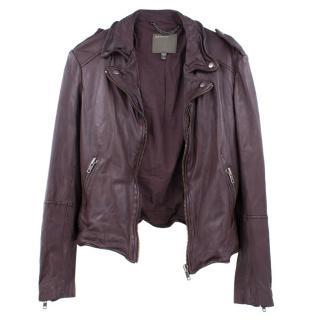 Muubaa Burgundy Leather Biker Jacket
