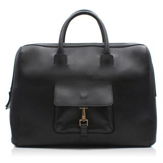 Ermenegildo Zegna Black Claf Leather Large Bag