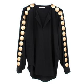 Chloe Black Top With Gold Rounded Metals