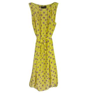 max mara silk yellow with purple spots dress
