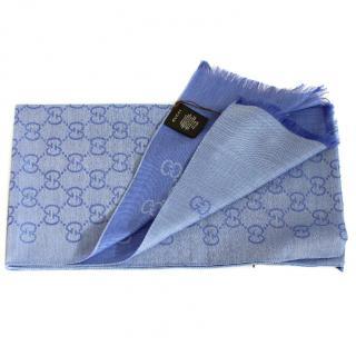 Gucci Blue Woolen Scarf