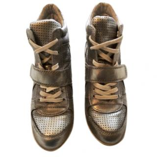 Ash Wedge Hi-Top Silver Leather Trainers