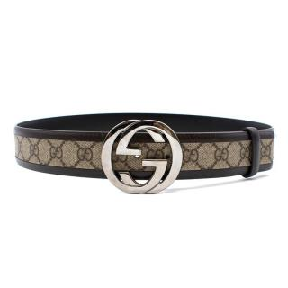 Gucci GG Monogram Brown Monogram Leather Belt
