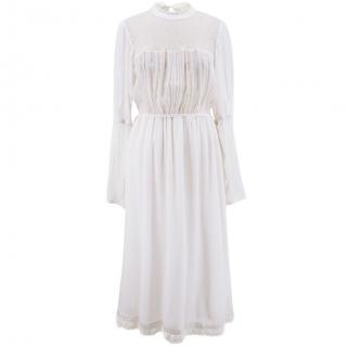Ghost White Lace and Silk Long Dress