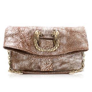 Bvlgari Brown Metallic Leather Shoulder Bag