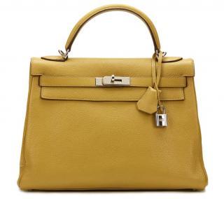 Hermes Chartreuse Chevre Mysore Leather Kelly 32cm Retourne