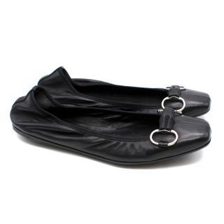 Gucci Black Leather Horse- bit Ballet Flats