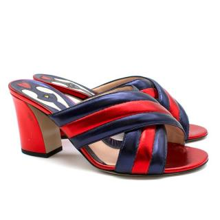 Gucci Metallic Satin Red and Navy Mules