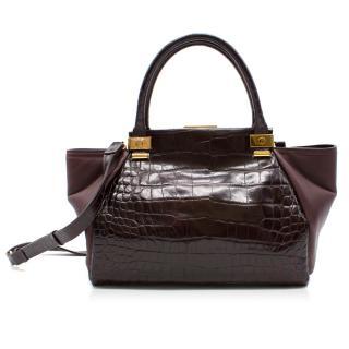Lanvin Burgundy Trilogy Croc Effect Leather Tote Bag