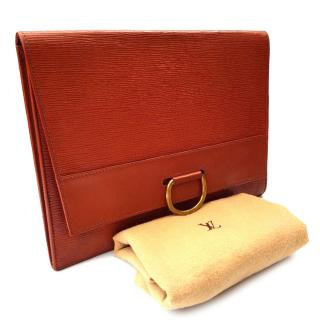 LV LOUIS VUITTON Vintage Lena Tan / Brown Epi Leather Clutch Bag.