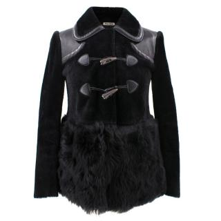 Miu Miu Leather and Sheep Skin Coat