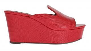 Dolce & Gabbana Red lizardskin mules wedges