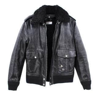 Saint Laurent Leather and Shearling Bomber Jacket - Current