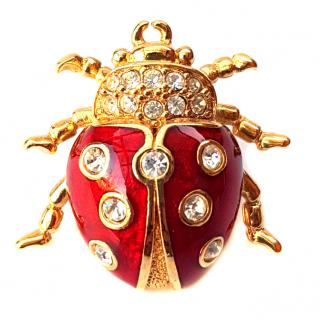 Christian Dior Vintage Ladybird Enamel Brooch with Crystals.