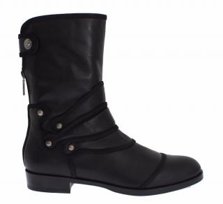 Dolce & Gabbana Black leather mid calf flat boots