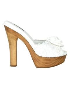 Dolce & Gabbana white flower lace wooden sandals