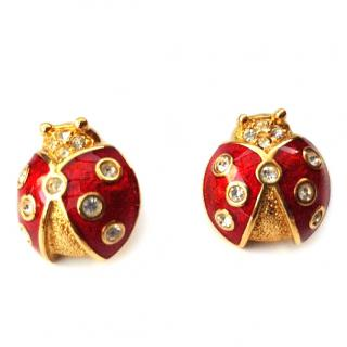 Christian Dior Vintage Gold tone Ladybird Red Enamel Earrings