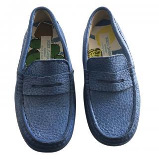 Dolce Gabbana boy's blue leather moccasins worn once